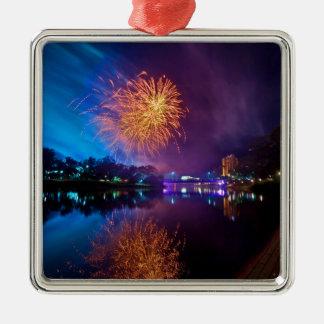 Fireworks Silver-Colored Square Decoration
