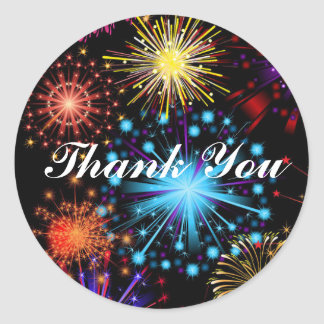 Fireworks sky Thank You Classic Round Sticker