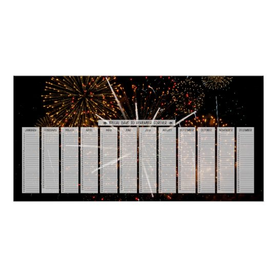 Fireworks Special Days to Remember Calendar Poster