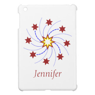 Fireworks Star Swirl - Red, Yellow, Blue on White iPad Mini Case