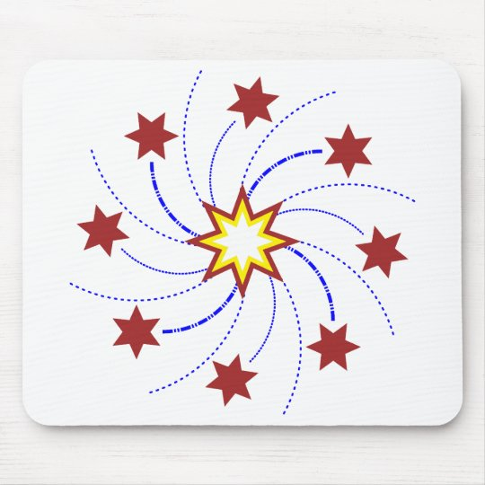 Fireworks Star Swirl - Red, Yellow, Blue on White Mouse Mat