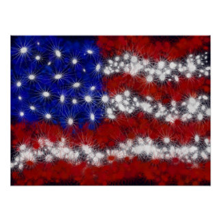 Fireworks Stars and Stripes American Flag Poster