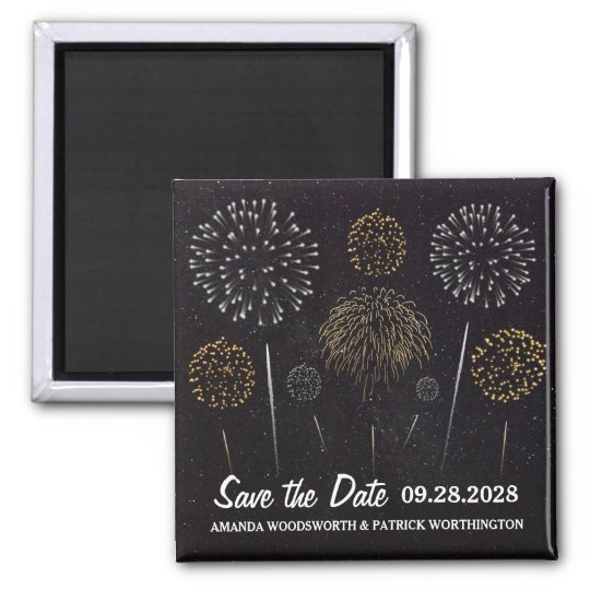 Fireworks Themed Black Gold Save The Date Square