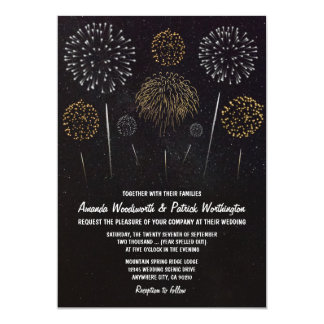 Fireworks Themed Black Gold Wedding Invitations