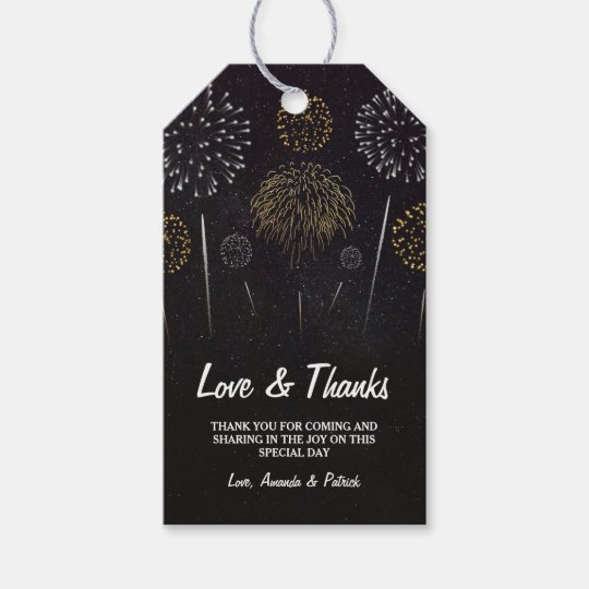 Fireworks Themed Black Gold Wedding Thank You Tags