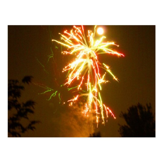 Fireworks under the Full Moon Postcard