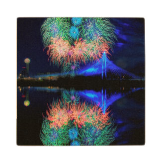 Fireworks Wood Coaster