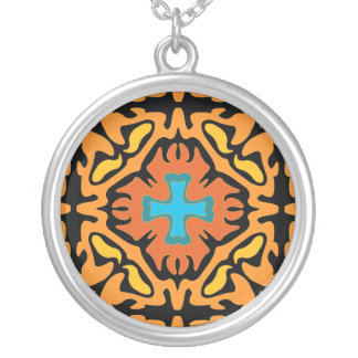 Firey Abstract with Blue Accents Silver Plated Necklace