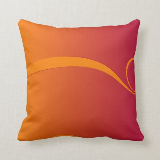 Firey Orange and Red Swirl Throw Cushion