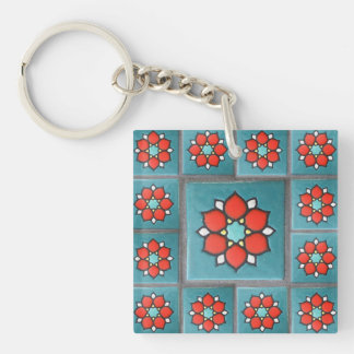 Firey Orange and Teal Vintage Flower Pattern Single-Sided Square Acrylic Key Ring