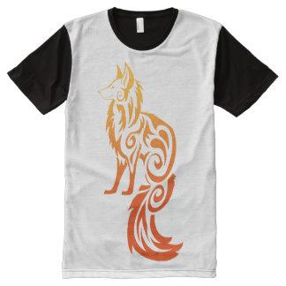 Firey Red Tribal Fox Kitsune All-Over Print T-Shirt