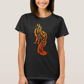 Firey Red Tribal Fox Kitsune T-Shirt