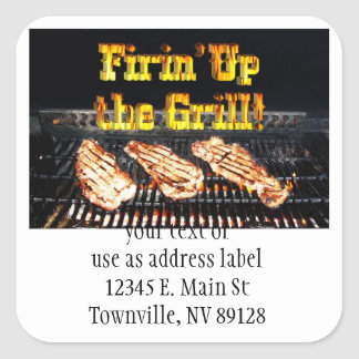 Firing up the Grill! BBQ Steaks Square Sticker
