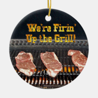 Firing up the Grill! Round Ceramic Decoration
