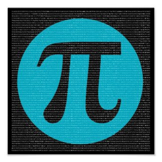 First 10,000 digits of Pi, blue on black Poster