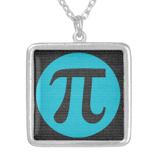 First 10,000 digits of Pi, blue on black Silver Plated Necklace