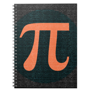 First 10,000 digits of Pi in blue and orange Spiral Notebook