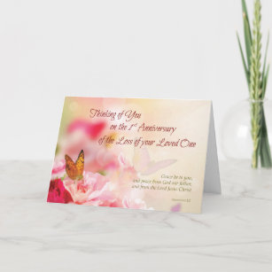 Death anniversary cards invitations zazzle first 1st anniversary of loss of loved one death card stopboris Choice Image