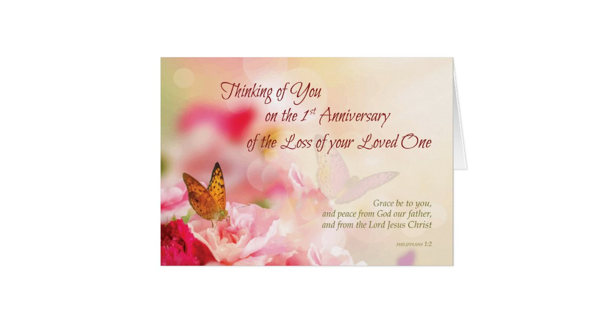 Death anniversary cards invitations zazzle first 1st anniversary of loss of loved one death card stopboris Images