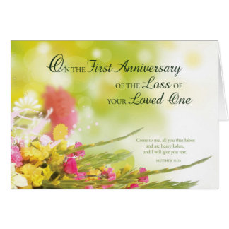 Death anniversary cards invitations zazzle first 1st anniversary of loved ones death flowers card stopboris Images