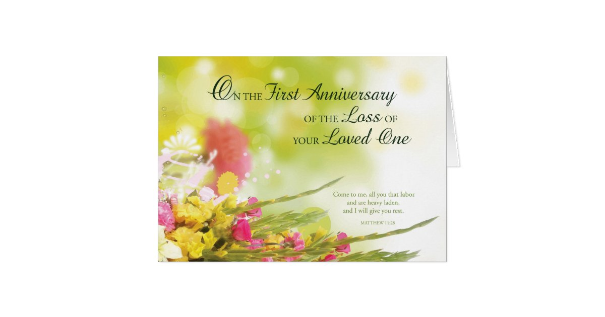 Death anniversary cards invitations zazzle first 1st anniversary of loved ones death flowers card stopboris Choice Image
