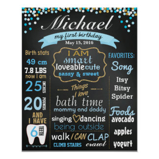 First 1st Birthday Chalkboard sign confetti gold