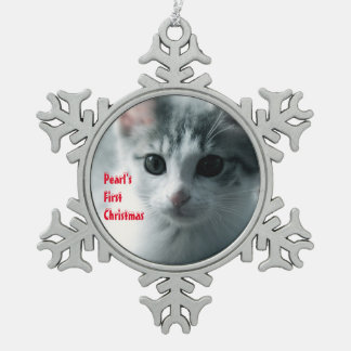 FIRST 1st CHRISTMAS photo Pewter Snowflake Decoration