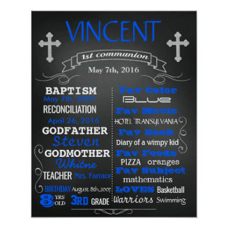 First 1st Communion chalkboard sign poster