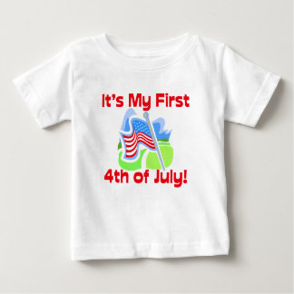 First 4th of July Colorful Blue Baby Tshirts