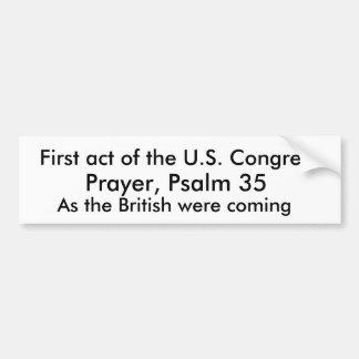 First act of the U.S. Congress, Bumper Sticker