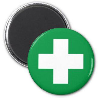 First aid 6 cm round magnet