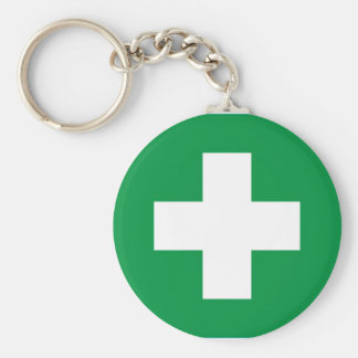 First aid basic round button key ring
