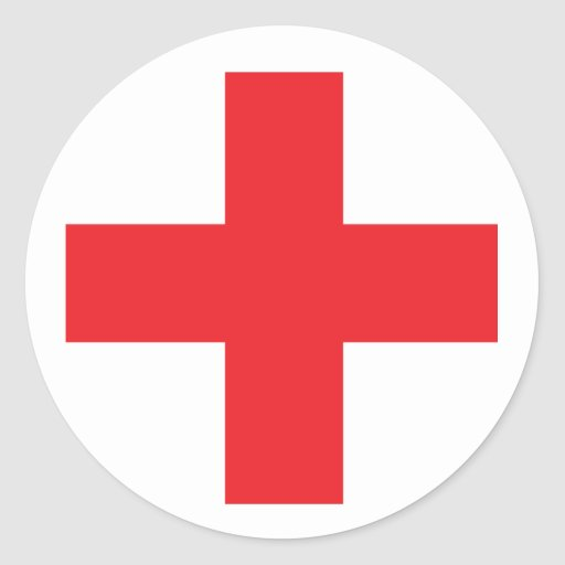 First Aid Kit Sign Round Stickers