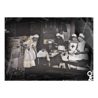 First Aid Station Nurses WWI Cards