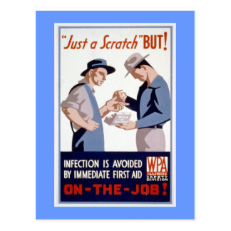 First Aid Vintage WPA Poster Postcard