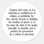 First Amendment Round Sticker