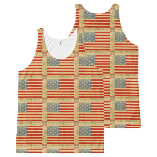 First American Flag Pattern Vintage Patriotic USA All-Over Print Tank Top