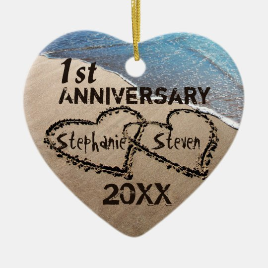 First, Any Anniversary Two Hearts In Sand Ornament