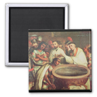First Baptism of the Indians by the Dominicans Square Magnet