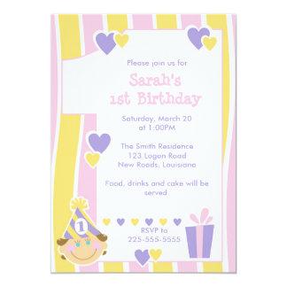 First Birthday 13 Cm X 18 Cm Invitation Card