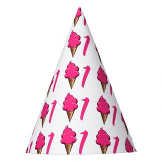 First Birthday 1 year Girls Pink Ice cream Party Hat