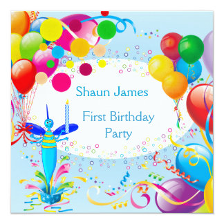 "First Birthday 1st Boy Blue Balloons Bug 2 5.25"" Square Invitation Card"