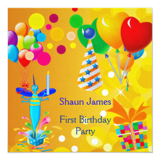 "First Birthday 1st Boy Blue Balloons Bug 3 5.25"" Square Invitation Card"