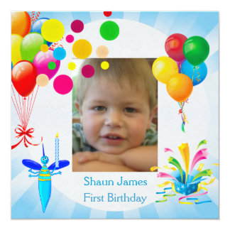 First Birthday 1st Boy Blue Balloons Bug 5.25x5.25 Square Paper Invitation Card