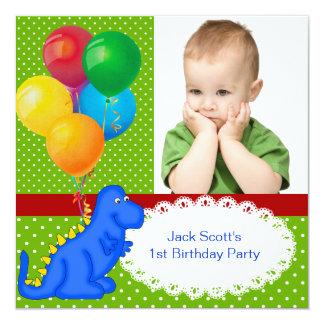 First Birthday 1st Dinosaur Green Blue Boy 5.25x5.25 Square Paper Invitation Card