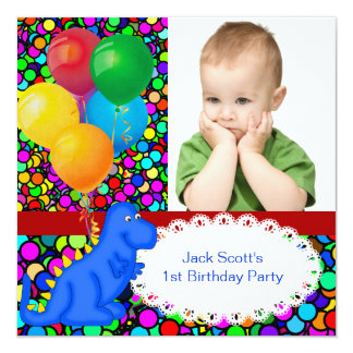 "First Birthday 1st Dinosaur Red Green Blue Boy 5.25"" Square Invitation Card"