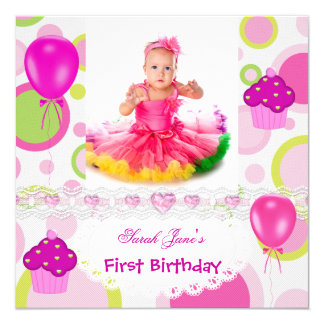 First Birthday 1st Girl Cupcakes Pink Balloons Card