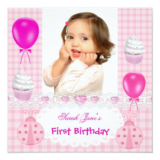 First Birthday 1st Girl Cupcakes Pink Ladybirds 13 Cm X 13 Cm Square Invitation Card