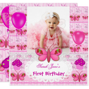 First Birthday 1st Girl Hot Pink Butterfly Invitation