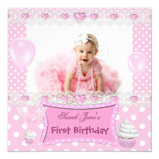 First Birthday 1st Girl Pink Baby Polka Dots Card